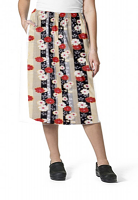 Cargo pockets ladies skirt in Red and Beige flowers with Grey backgroud