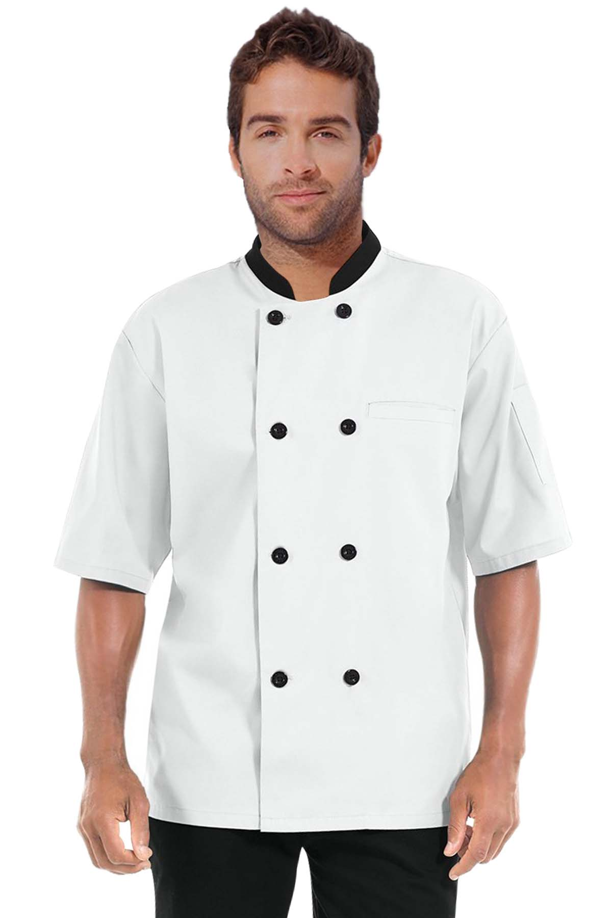 Poplin Men's Short Sleeve Chef Coat With 1 Chest pocket and 1 Sleeve Pocket - Button Front Closure - Contrasting collar and buttons (48 perc cotton 52 perc polyester Light Weight poplin)