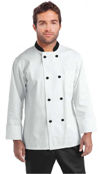 Poplin Men's Full Sleeve Chef Coat With 1 Chest pocket and 1 Sleeve Pocket - Button Front Closure - Contrasting collar and buttons (48 perc cotton 52 perc polyester Light Weight poplin)