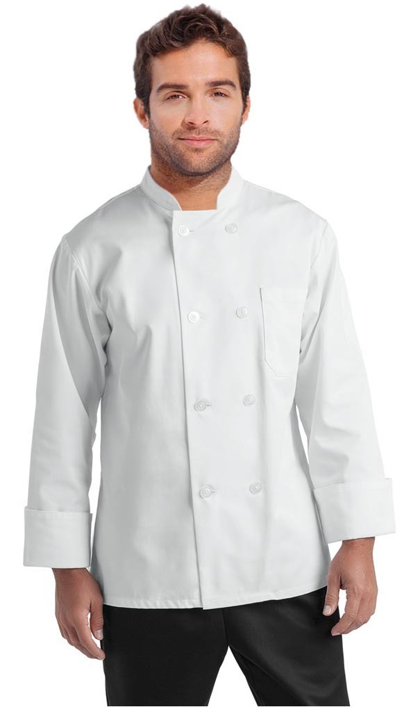Twill Men's Full Sleeve Chef Coat With 1 Chest pocket and 1 Sleeve Pocket - Button Front Closure (48 perc cotton 52 perc polyester)