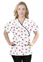 Printed scrub set mock wrap 5 pocket half sleeve in Cherry Blossom Print With Black Piping (top 3 pocket with black bottom 2 pocket boot cut)