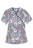 Printed scrub set mock wrap 5 pocket half sleeve in Flower and Line Print With Black Piping  (top 3 pocket with black bottom 2 pocket boot cut)