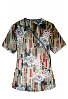 Printed scrub set mock wrap 5 pocket half sleeve in Flower and Shapes Print With Black Piping  (top 3 pocket with black bottom 2 pocket boot cut)