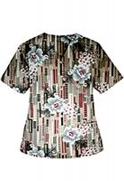 Printed scrub set 4 pocket ladies half sleeve Flower and Shapes Print (2 pocket top and 2 pocket black pant)