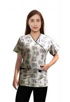 Printed scrub set mock wrap 5 pocket half sleeve in Flower Bouquet Print With Black Piping  (top 3 pocket with black bottom 2 pocket boot cut)