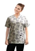 Printed scrub set 4 pocket ladies half sleeve Flower Bouquet Print (2 pocket top and 2 pocket black pant)