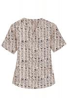 Top v neck 2 pocket half sleeve in Geometric Print