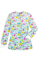 Jacket 2 pocket printed unisex full sleeve in Hearts and blue print with rib