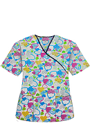 Top mock wrap 3 pocket half sleeve in Hearts in blue Print with black piping