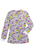 Jacket 2 pocket printed unisex full sleeve in Hearts and Purple print  with rib