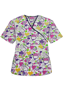 Top mock wrap 3 pocket half sleeve in Hearts in Purple Print with black piping