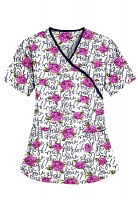 Printed scrub set mock wrap 5 pocket half sleeve in Hey You Print with black piping  (top 3 pocket with black bottom 2 pocket boot cut)