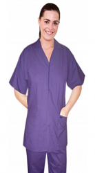 SCRUB SET 4 POCKET SOLID LADIES FRONT OPEN COLLAR WITH SNAP BUTTONS HALF SLEEVE (2 POCKET TOP 2 POCKET BOOT CUT PANT)