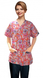 Printed scrub set 4 pocket ladies half sleeve in love peace orange (2 pocket top and 2 pocket pant)