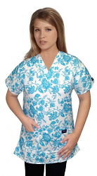 Printed scrub set 4 pocket ladies half sleeve petal blue (2 pocket top and 2 pocket pant)