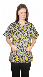 Printed scrub set 4 pocket ladies half sleeve yellow and black (2 pocket top and 2 pocket pant)