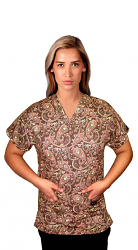 Printed scrub set 4 pocket ladies half sleeve in brown daisy (2 pocket top and 2 pocket pant) brown daisy print