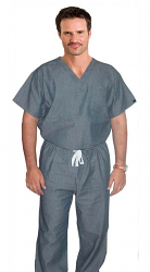 Denim scrub set 2 pocket normal half sleeve unisex solid (top 1 pocket with bottom 1 pocket)