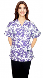 Printed scrub set 4 pocket ladies half sleeve petal purple print (2 pocket top and 2 pocket pant)
