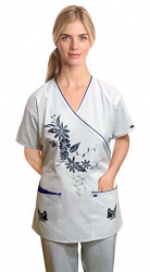 STYILISH SCRUB SET WITH MOCK WRAP TREE PRINT 5 POCKET  (Top 3 Pocket with Bottom 2 Pocket Boot Cut)