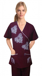 STYLISH SCRUB SET WITH MOCK WRAP GOTHIC PRINT 5 POCKET  (Top 3 Pocket with Bottom 2 Pocket Boot Cut)