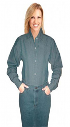 Ladies denim full sleeve shirt without pocket in dark denim shade