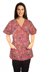 Printed scrub set mock wrap 5 pocket half sleeve in love peace orange  with raspberry piping (top 3 pocket with bottom 2 pocket boot cut)
