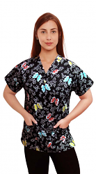 Printed scrub set 4 pocket ladies half sleeve butterfly print (2 pocket top and 2 pocket pant)