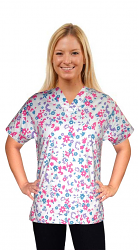 Printed scrub set 4 pocket ladies half sleeve in multi floral (2 pocket top and 2 pocket pant)