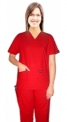 Stretchable Scrub set 5 pocket solid ladies half sleeve (top 2 pocket with 1 pencil pocket and pant 1 cargo pocket & 1 back pocket) in 97% Cotton 3% Spandex
