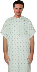 Patient gown 1 chest pocket half sleeve back OPEN tieable printed in black leaf prints Chest 54 Inches Length 45 inches $6.25 and Chest 80 inches Length 49 inches $9.25