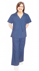 SCRUB SET 4 POCKET LADIES WITH V-NECK COLLAR STYLE TOP HALF SLEEVE WITH FLARE LEG PANT (TOP 2 POCKET WITH 2 POCKET PANT)