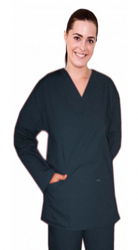 Stretchable Scrub set 4 pocket solid full sleeve ladies (2 pocket top and 2 pocket pant) in 97% Cotton 3% Spandex