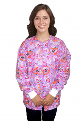 Jacket 2 pocket printed unisex full sleeve in love peace purple print with rib