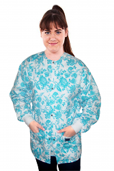 Jacket 2 pocket printed unisex full sleeve in petal blue print with rib