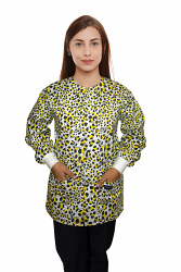Jacket 2 pocket printed unisex full sleeve in yellow and black print with rib
