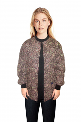 Jacket 2 pocket printed unisex full sleeve in brown daisy print with rib