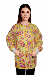 Jacket 2 pocket printed Unisex Full Sleeve in Love Peace Yellow Print with Rib