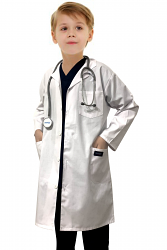 Children's / kids labcoat 3 pocket full sleeve in poplin fabric with Plastic Buttons