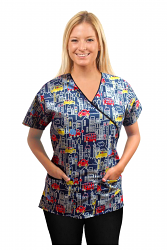 Printed scrub set mock wrap 5 pocket half sleeve in Building and bus Print with black piping  (top 3 pocket with black bottom 2 pocket boot cut)