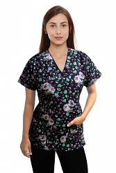 Printed Scrub Set Mock Wrap 5 Pocket Half Sleeve in White Flower and Black Print with black piping  (top 3 pocket with bottom 2 pocket boot cut)