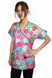 Printed scrub set mock wrap 5 pocket half sleeve in white and pink fower print with black piping (top 3 pocket with bottom 2 pocket boot cut)