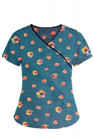 Top mock wrap 3 pocket half sleeve in Navy Print with Red Flower with black piping