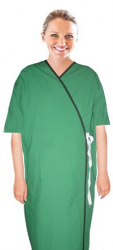 Microfiber new patient gown half sleeve with contrast piping front open tie-able, Sizes XS-9X