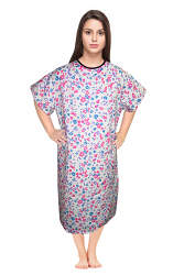 Patient gown half sleeve printed  back open, tie-able  from two points multifloral print Chest 54 Inches Length 45 inches $6.25 and Chest 80 inches Length 49 inches $9.25