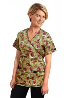 Printed scrub set mock wrap 5 pocket half sleeve in paris print with black piping (top 3 pocket with black bottom 2 pocket boot cut)