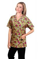 Printed scrub set 4 pocket ladies half sleeve Paris print (2 pocket top and 2 pocket black pant)