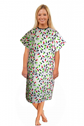 Patient gown half sleeve printed back open, tie-able  from two points light print Chest 54 Inches Length 45 inches $6.25 and Chest 80 inches Length 49 inches $9.25