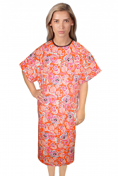 Patient gown half sleeve printed back open, tie-able  from two points love peace orange print Chest 54 Inches Length 45 inches $6.25 and Chest 80 inches Length 49 inches $9.25