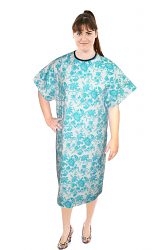 Patient gown half sleeve printed back open, tie-able  from two points petal blue print Chest 54 Inches Length 45 inches $6.25 and Chest 80 inches Length 49 inches $9.25